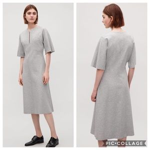 COS Zip V Neck Jersey Dress in Gray